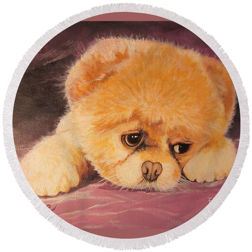 Dog Round Beach Towel featuring the painting Flying Lamb Productions   Koty The Puppy by Sigrid Tune