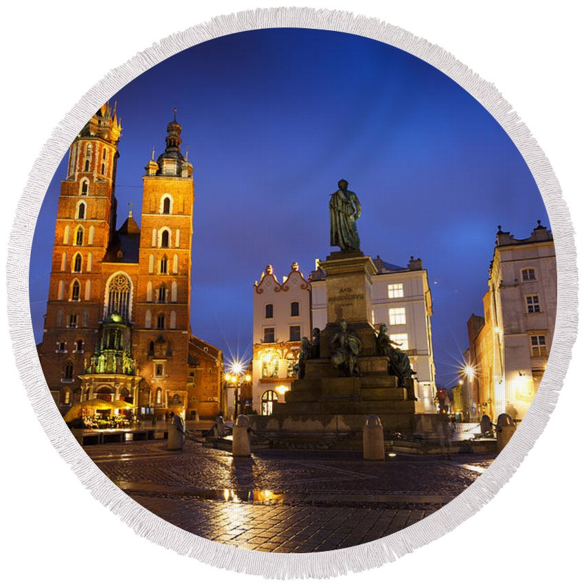 Poland Round Beach Towel featuring the photograph krakow 'VI by Milan Gonda
