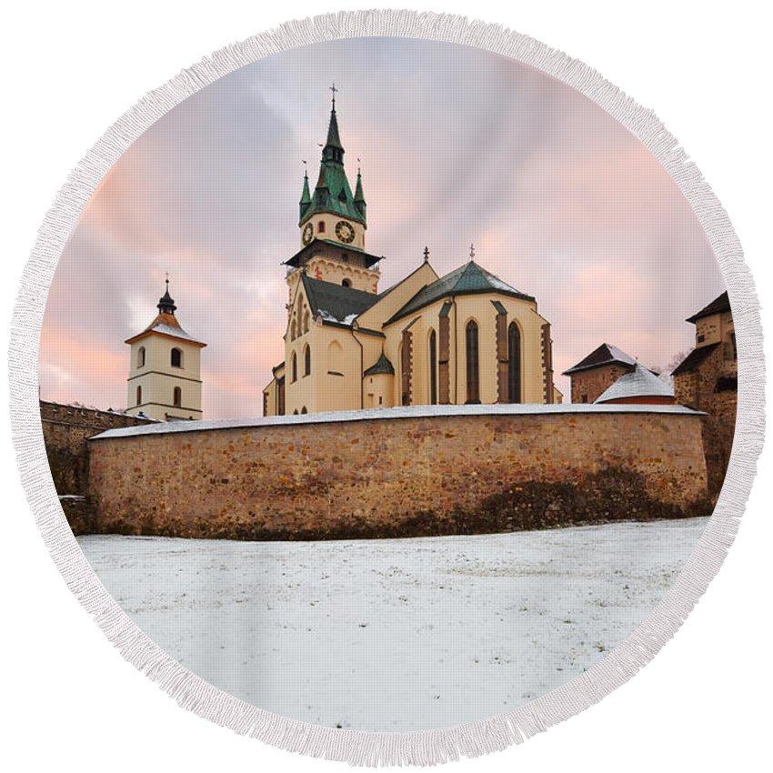Slovakia Round Beach Towel featuring the photograph kremnica 'XVI by Milan Gonda