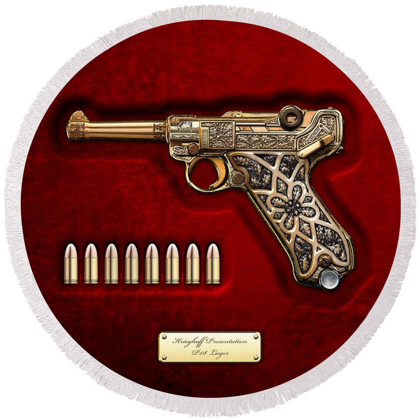 The Armory By Serge Averbukh Round Beach Towel featuring the photograph Krieghoff Presentation P.08 Luger by Serge Averbukh