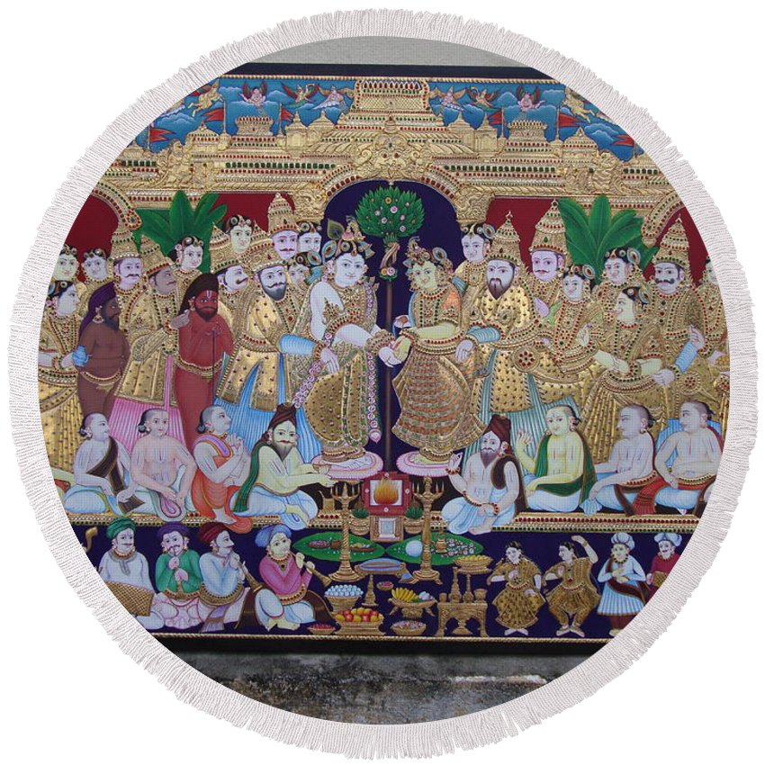Round Beach Towel featuring the painting Krishna Marriage by Sathasivam