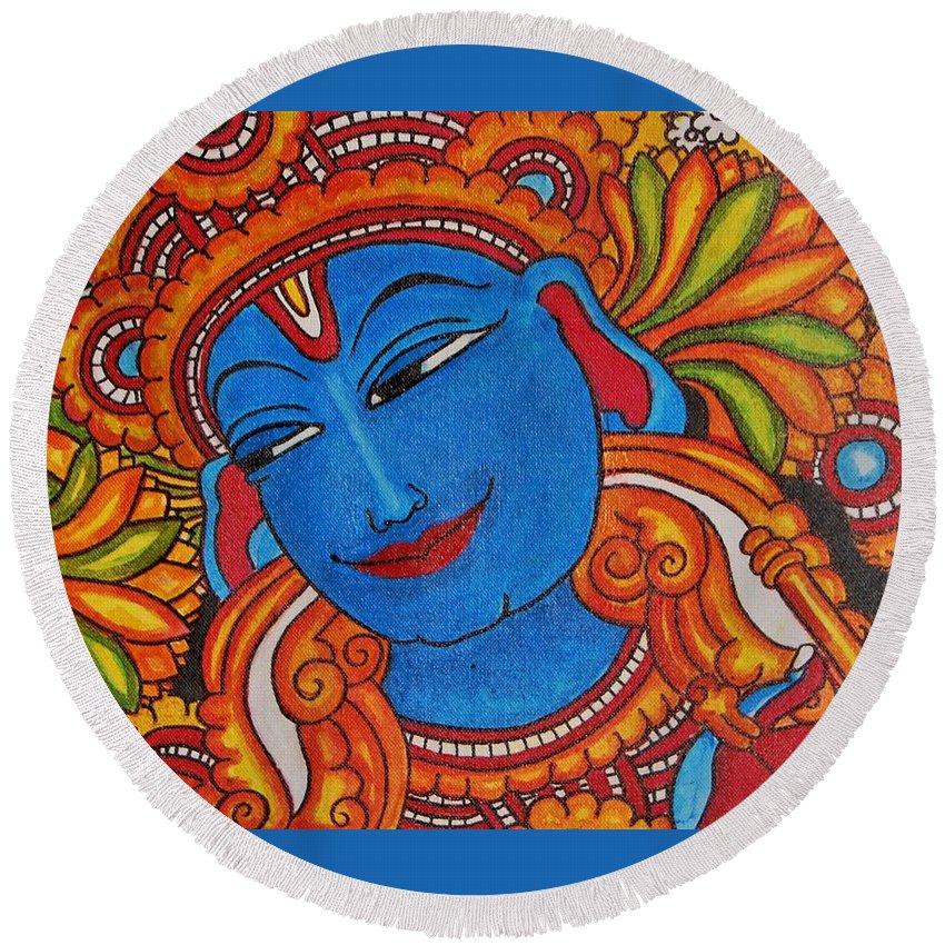 Krishna Round Beach Towel featuring the painting Krishna by Pushpa Ramachandran