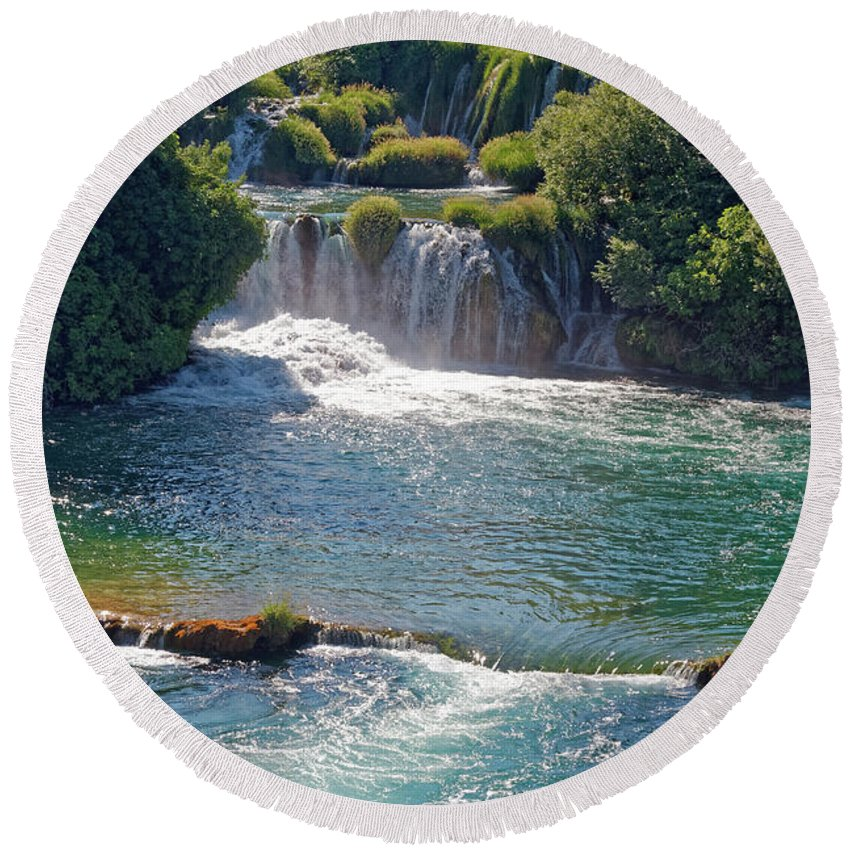Waterfalls Round Beach Towel featuring the photograph Krka National Park Waterfalls 5 by Sally Weigand