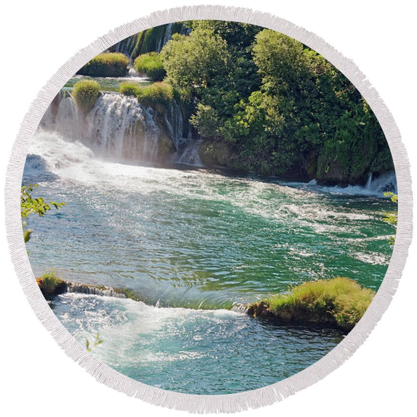 Waterfalls Round Beach Towel featuring the photograph Krka National Park Waterfalls 6 by Sally Weigand