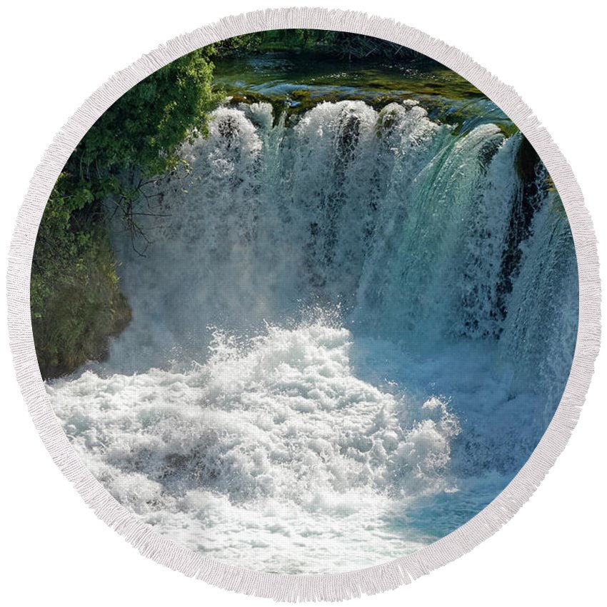 Waterfalls Round Beach Towel featuring the photograph Krka National Park Waterfalls by Sally Weigand