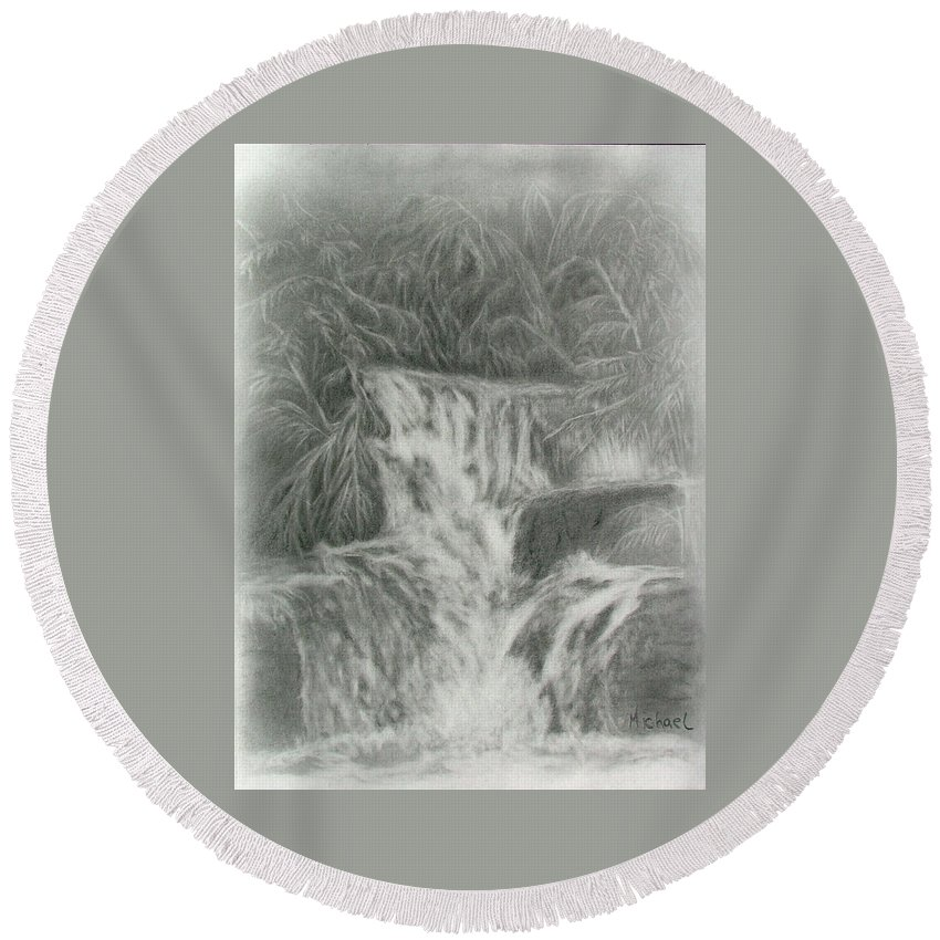 Waterfalls Round Beach Towel featuring the drawing Kuang Si Waterfalls by Michael Brennan