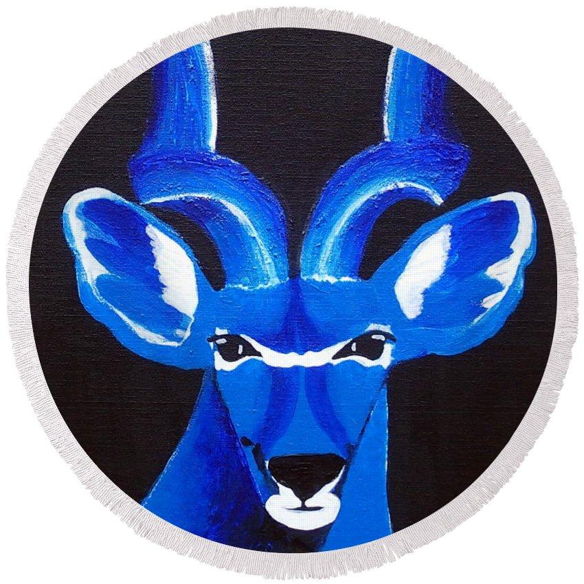 Kudu Round Beach Towel featuring the painting Kudu Blue by Trisha Lyons
