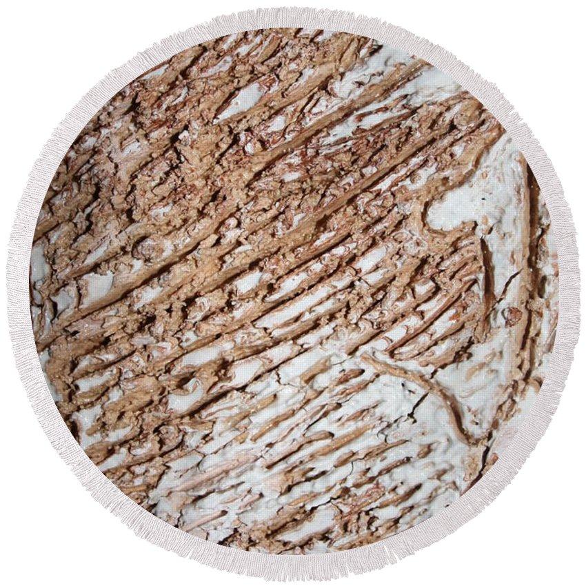 Jesus Round Beach Towel featuring the ceramic art Kumba - Tile by Gloria Ssali
