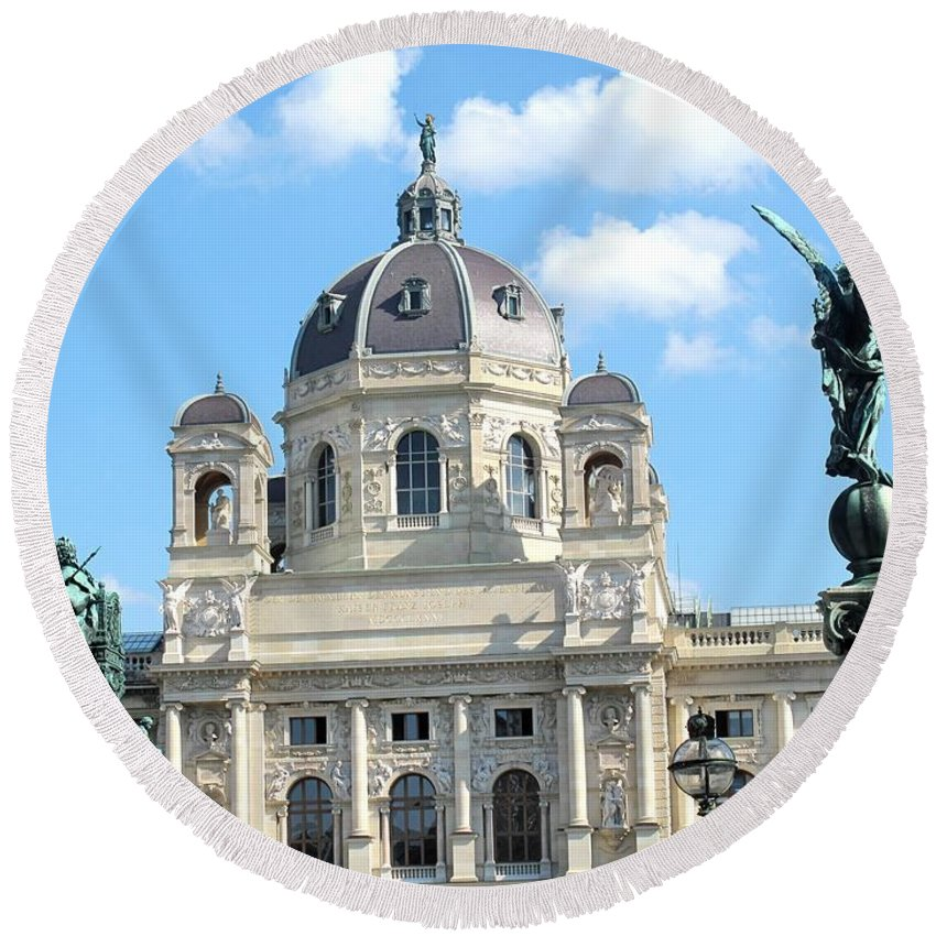 Vienna Round Beach Towel featuring the photograph Kunsthistoriches Museum Vienna by Ian MacDonald