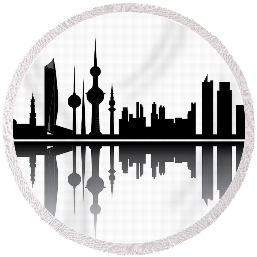 Architecture Round Beach Towel featuring the photograph Kuwait Skyline by Compuinfoto