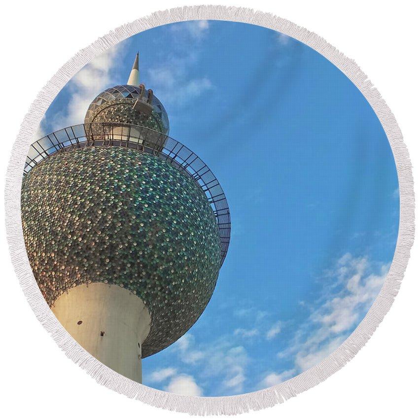 Kuwait Round Beach Towel featuring the photograph Kuwait Towers by Joseph Shbair