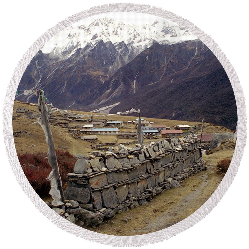 Langtang Round Beach Towel featuring the photograph Kyanjin Gompa by Patrick Klauss
