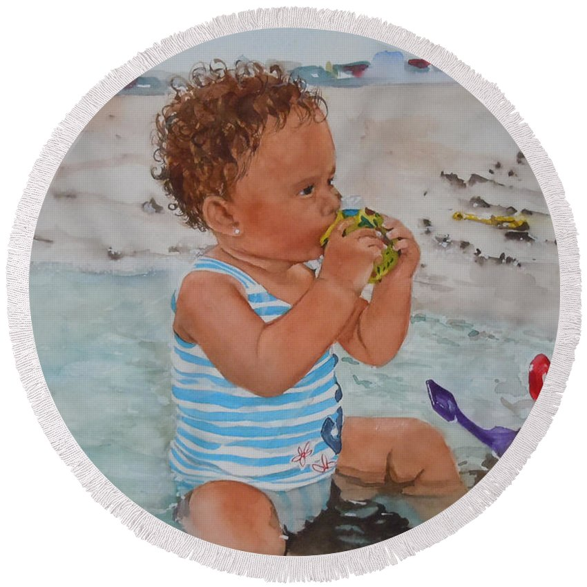 Beach Round Beach Towel featuring the painting Kyla by Jean Blackmer