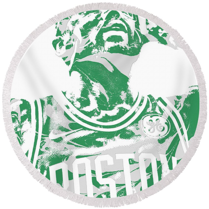 796bbaa2f52 Kyrie Irving Round Beach Towel featuring the mixed media Kyrie Irving  Boston Celtics Pixel Art 41