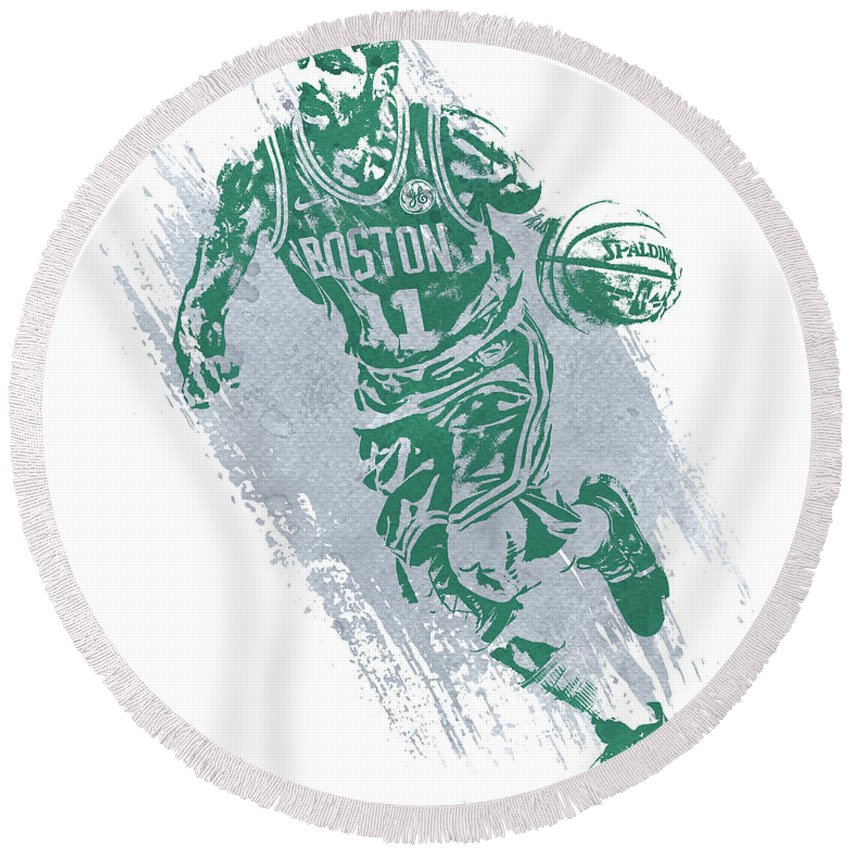 Kyrie Irving Round Beach Towel featuring the mixed media Kyrie Irving Boston Celtics Water Color Art 2 by Joe Hamilton