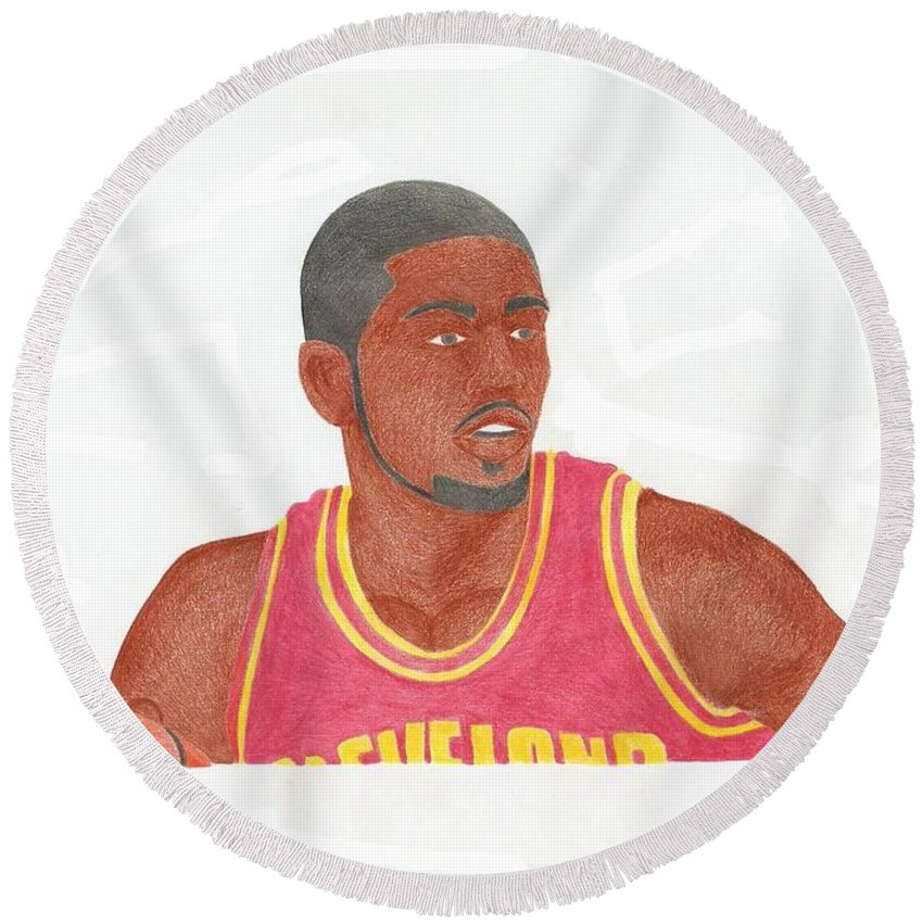 Basketball Round Beach Towel featuring the drawing Kyrie Irving by Toni Jaso