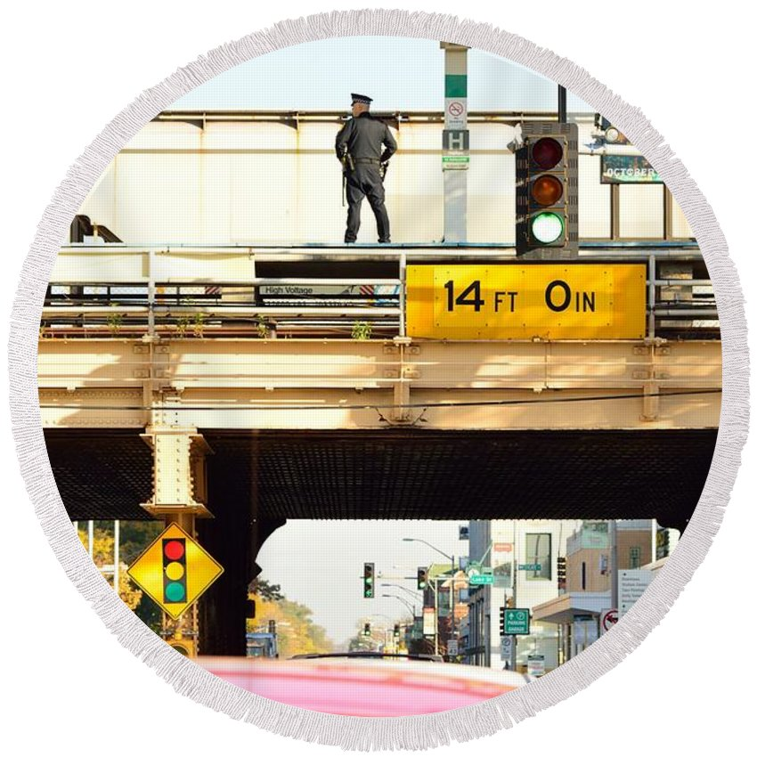 Chicago Round Beach Towel featuring the photograph L Stop Cop by Thomas Schaller