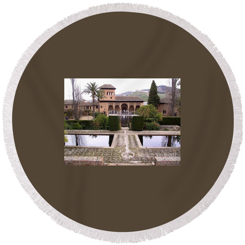 Alhambra Round Beach Towel featuring the photograph La Alhambra Garden by Thomas Marchessault