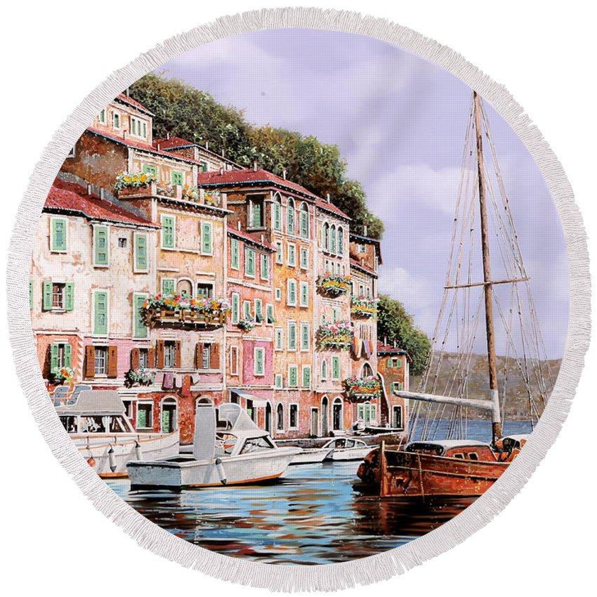 Landscape Round Beach Towel featuring the painting La Barca Rossa Alla Calata by Guido Borelli