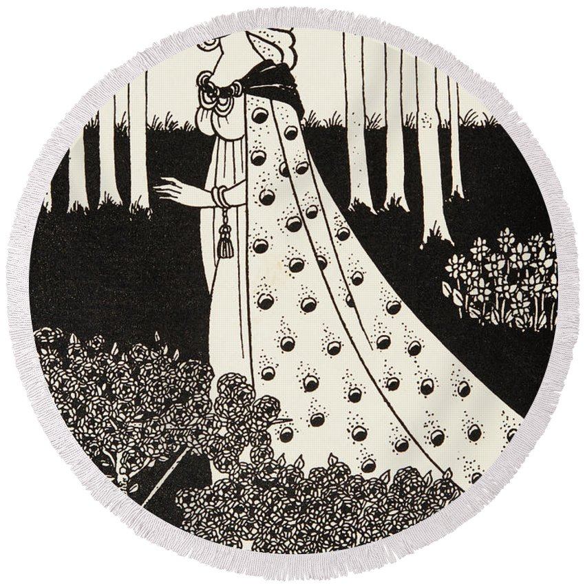 Nouveau Round Beach Towel featuring the drawing La Beale Isolde by Aubrey Beardsley