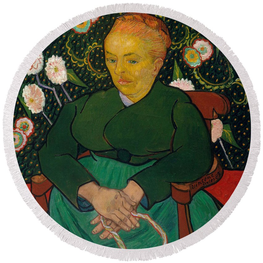 Vincent Van Gogh Round Beach Towel featuring the painting La Berceuse. Woman Rocking A Cradle. Augustine-alix Pellicot Roulin by Vincent van Gogh