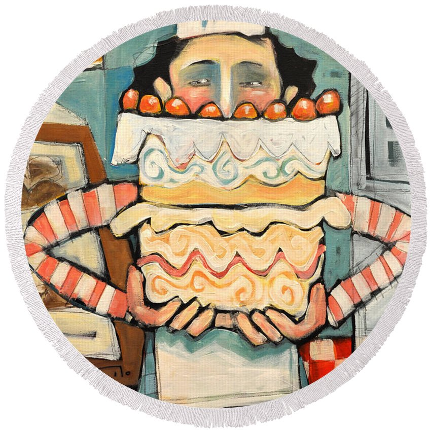 Cake Round Beach Towel featuring the painting La Boulanger Francaise by Tim Nyberg