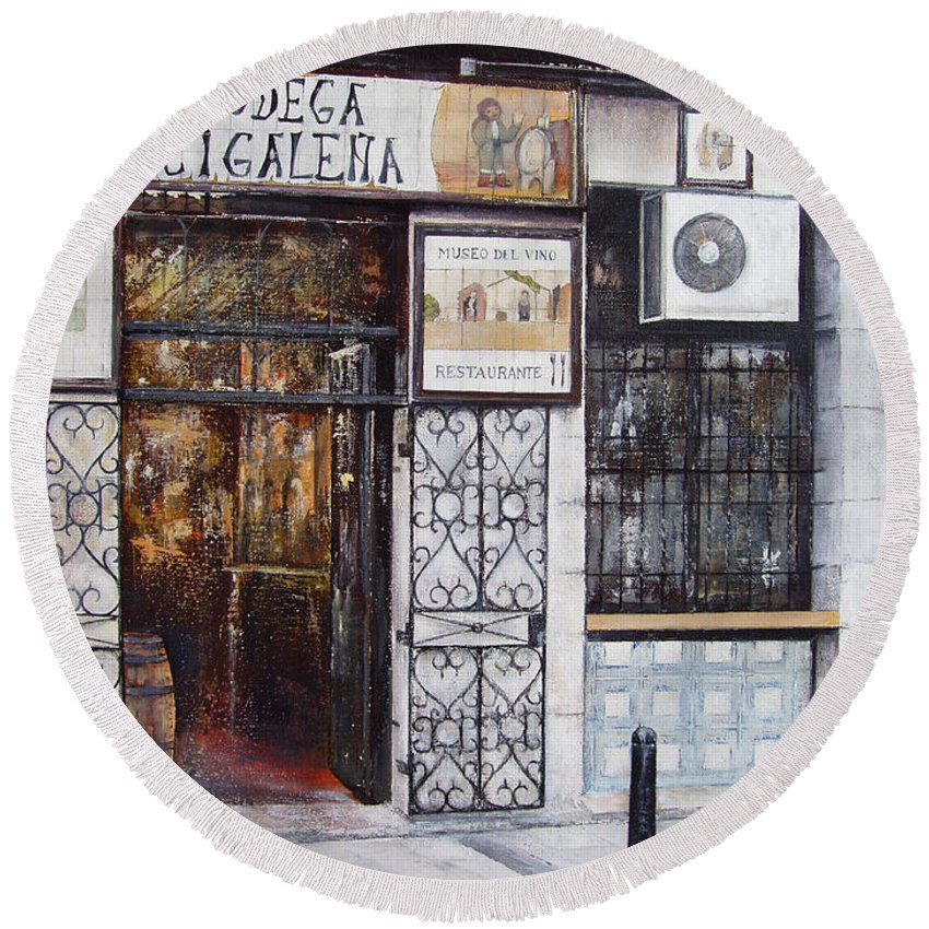 Bodega Round Beach Towel featuring the painting La Cigalena Old Restaurant by Tomas Castano