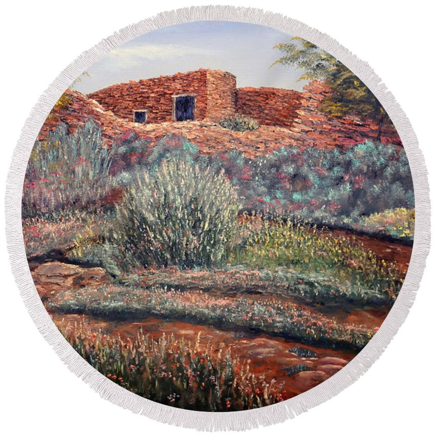 La Cueva New Mexico Round Beach Towel featuring the painting La Cueva New Mexico by Barney Napolske