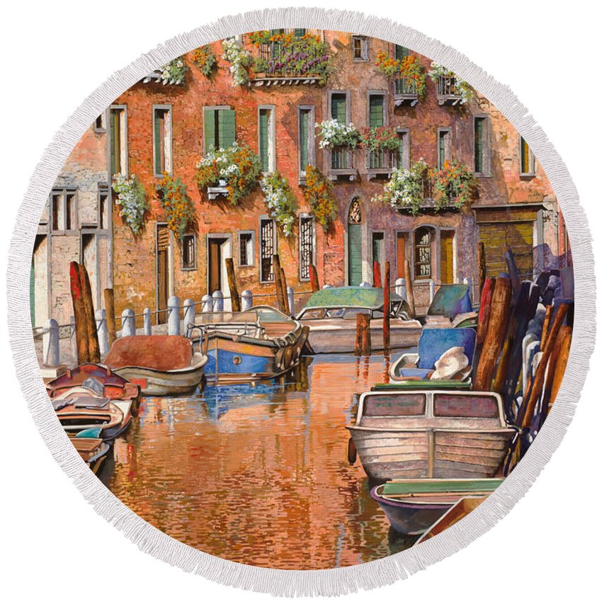 Venice Round Beach Towel featuring the painting La Curva Sul Canale by Guido Borelli
