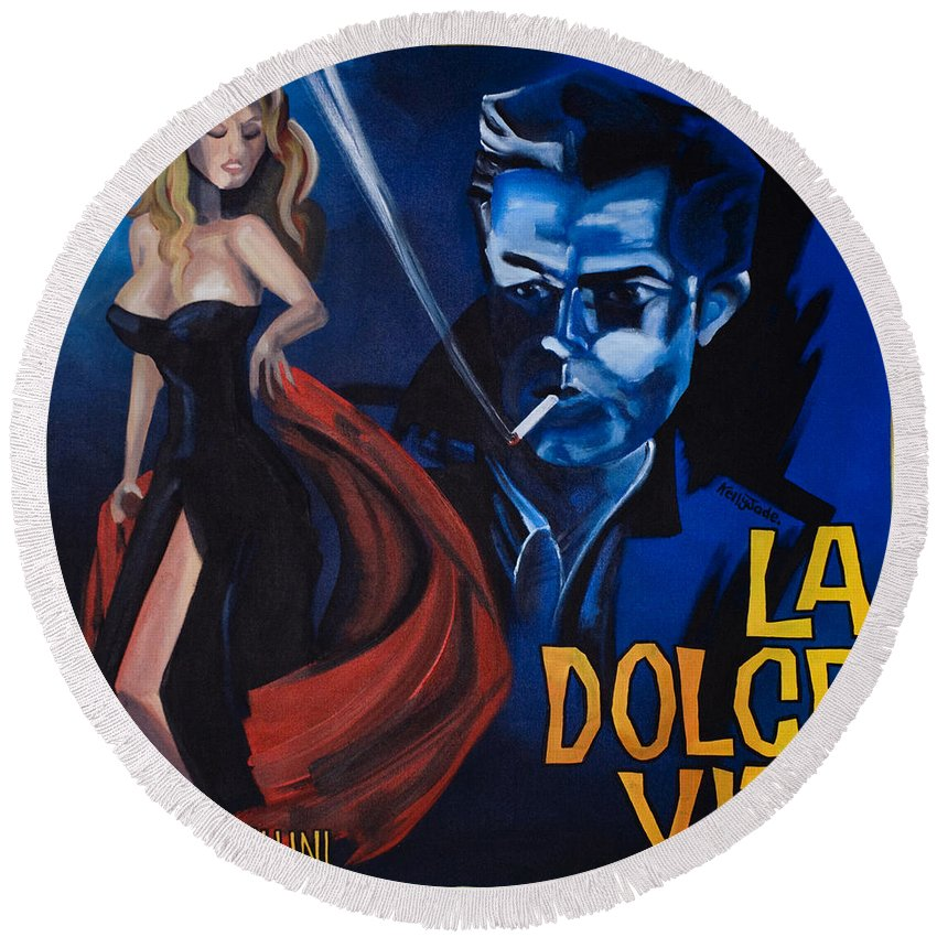 Movie Poster Round Beach Towel featuring the painting La Dolce Vita by Kelly Jade King