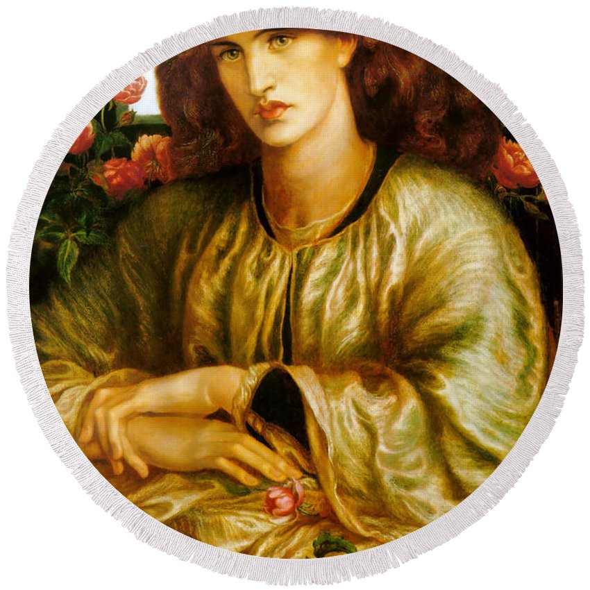 Dante Gabriel Rossetti Round Beach Towel featuring the painting La Donna Della Finestra by Dante Gabriel Rossetti