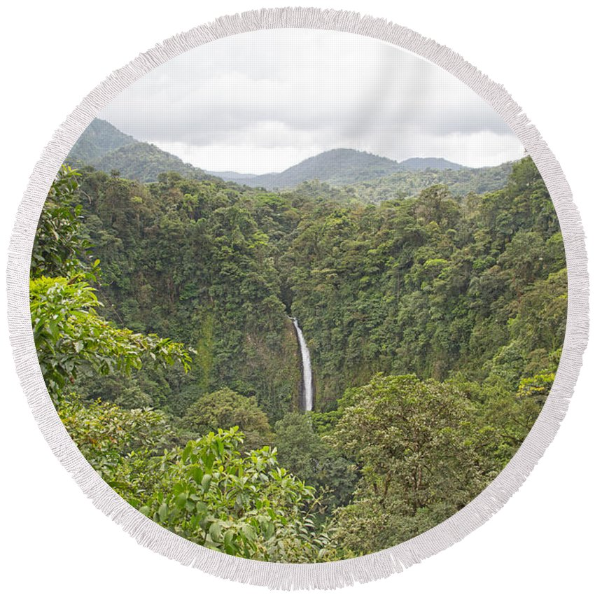 Waterfall Round Beach Towel featuring the photograph La Fortuna Waterfall by Betsy Knapp