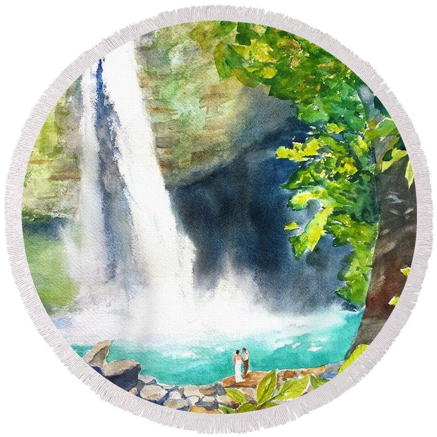 La Fortuna Round Beach Towel featuring the painting La Fortuna Waterfall by Carlin Blahnik CarlinArtWatercolor