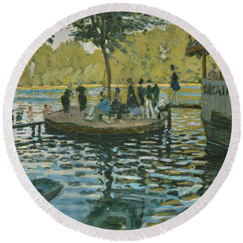 Monet Round Beach Towel featuring the painting La Grenouillere, 1869 by Claude Monet