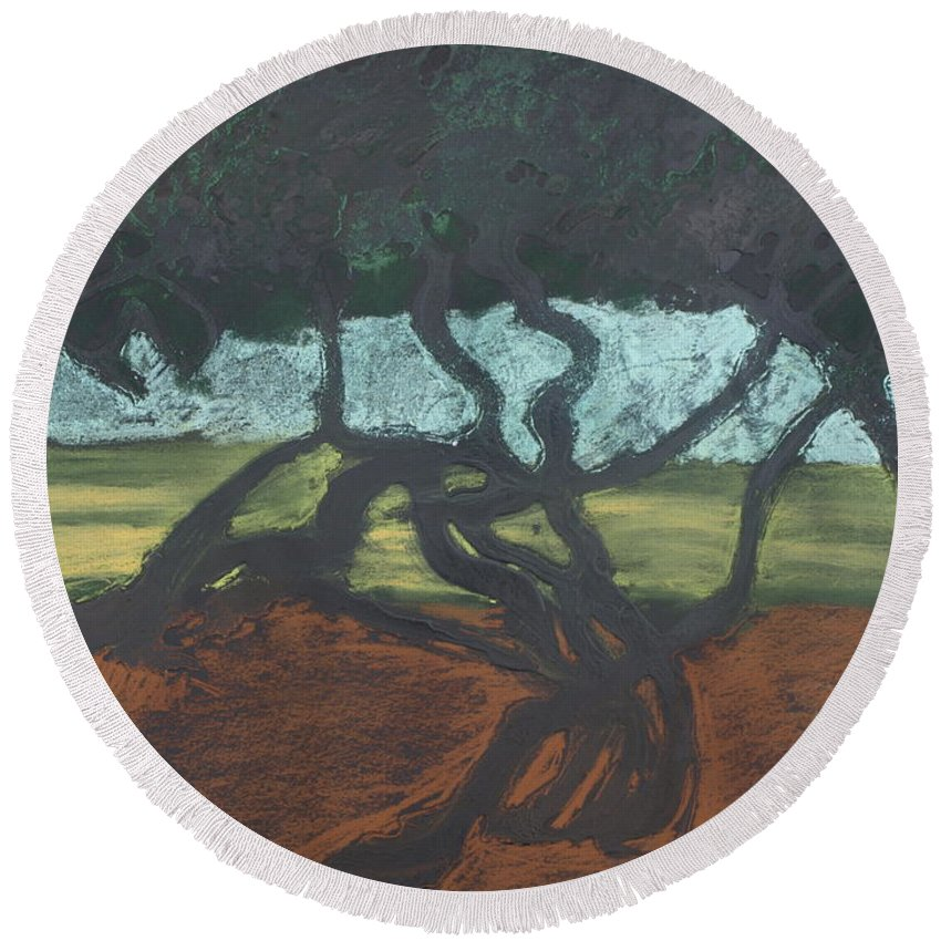 Contemporary Tree Landscape Round Beach Towel featuring the mixed media La Jolla II by Leah Tomaino