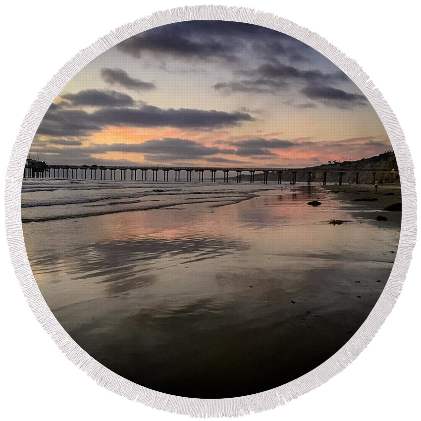Pier Round Beach Towel featuring the photograph La Jolla Pier by Michael Damiani