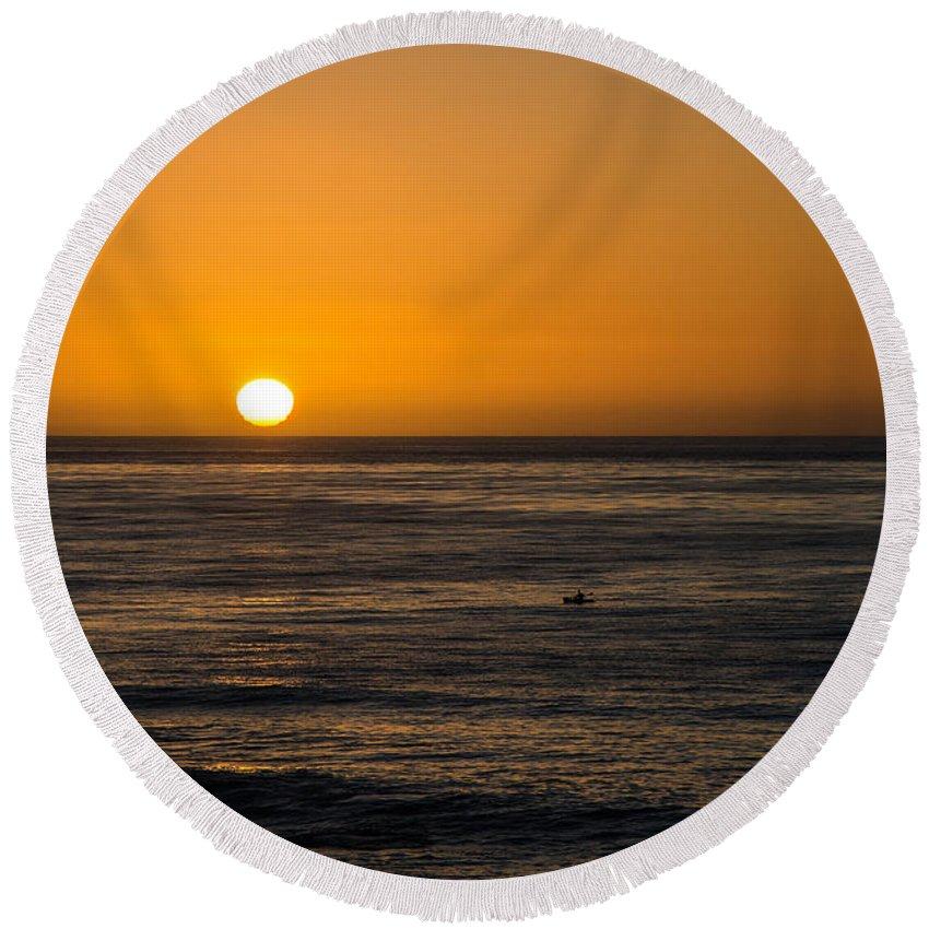 La Jolla Sunset Round Beach Towel featuring the photograph La Jolla Sunset by Susan McMenamin
