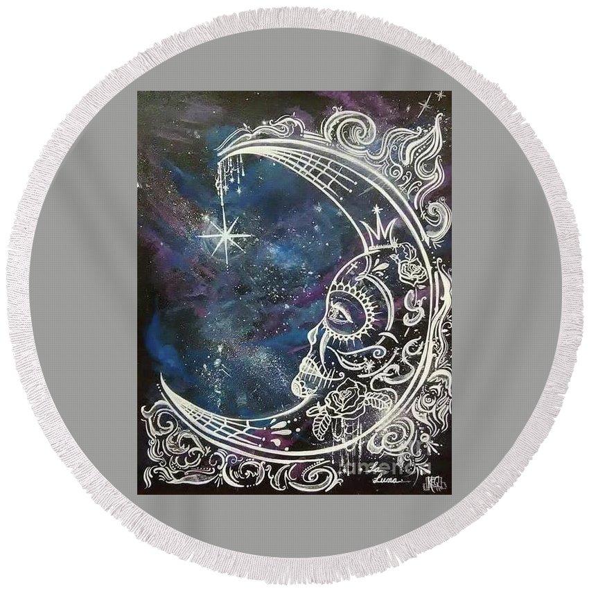 La Luna Round Beach Towel featuring the painting La Luna by Kelly Gannon