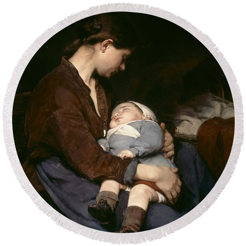 Mother And Child Round Beach Towel featuring the painting La Mere by Elizabeth Nourse