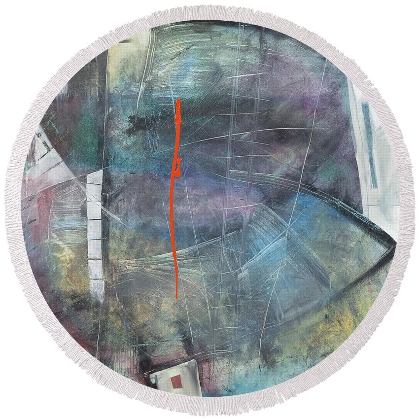 Abstract Round Beach Towel featuring the painting La Mort Au Cirque by Tim Nyberg