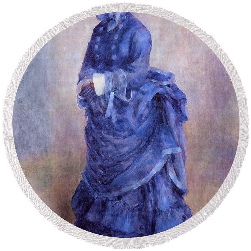 Blue Dress Paintings Round Beach Towels