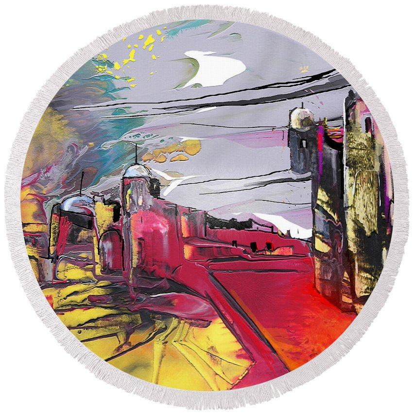 Landscape Round Beach Towel featuring the painting La Place Rouge Espagnole by Miki De Goodaboom