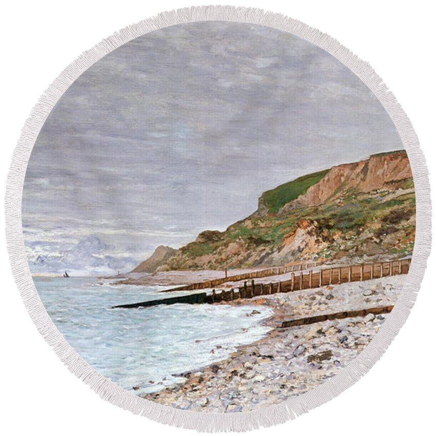 La Pointe De La Heve Round Beach Towel featuring the painting La Pointe De La Heve by Claude Monet