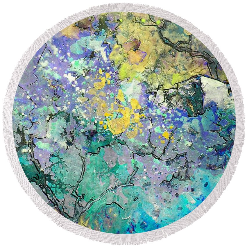 Landscape Painting Round Beach Towel featuring the painting La Provence 08 by Miki De Goodaboom