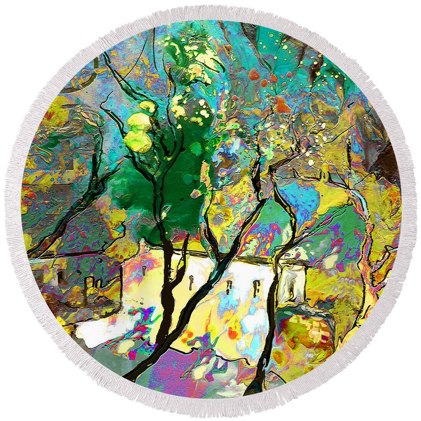 Miki Round Beach Towel featuring the painting La Provence 16 by Miki De Goodaboom