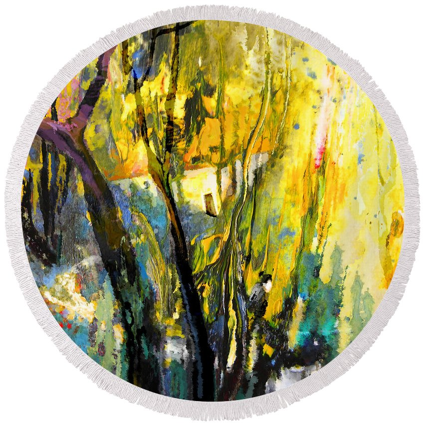 Acrylics Round Beach Towel featuring the painting La Provence 21 by Miki De Goodaboom