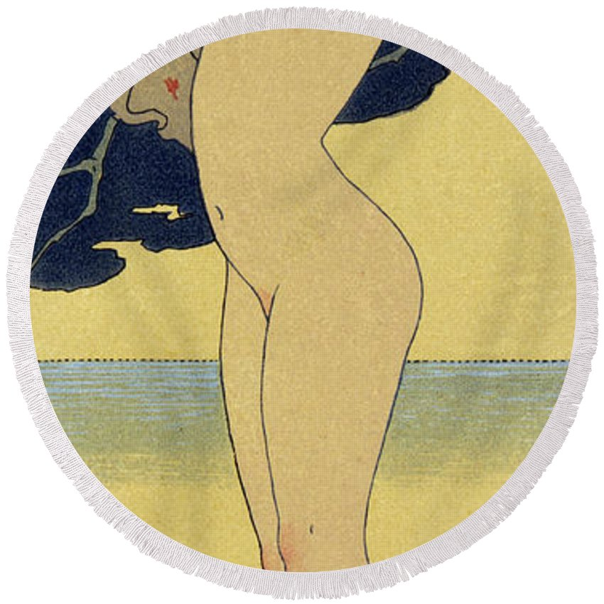 Deco Round Beach Towel featuring the painting La Riviere De La Foret by Georges Barbier