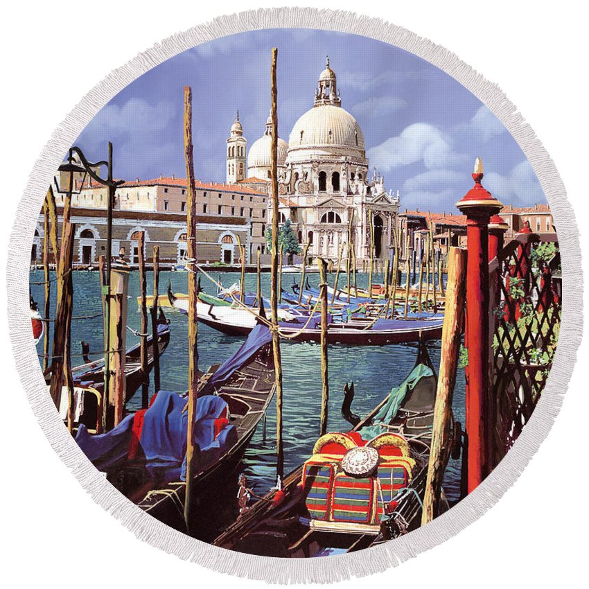 Church Round Beach Towel featuring the painting La Salute by Guido Borelli