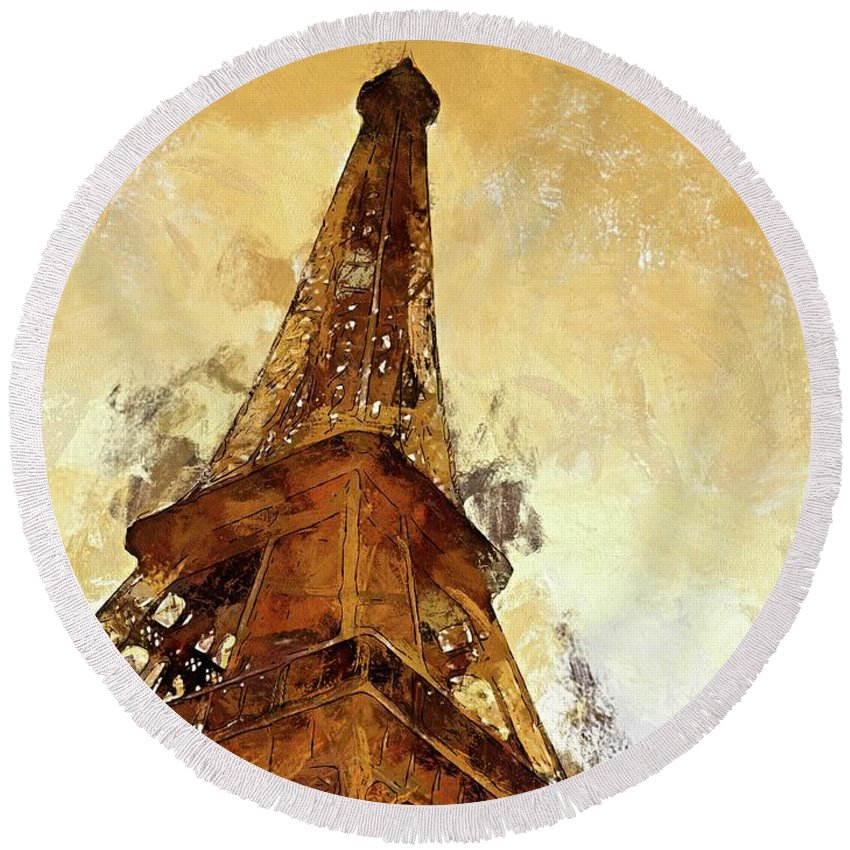 Digital Art Round Beach Towel featuring the digital art La Tour Eiffel by Dragica Micki Fortuna