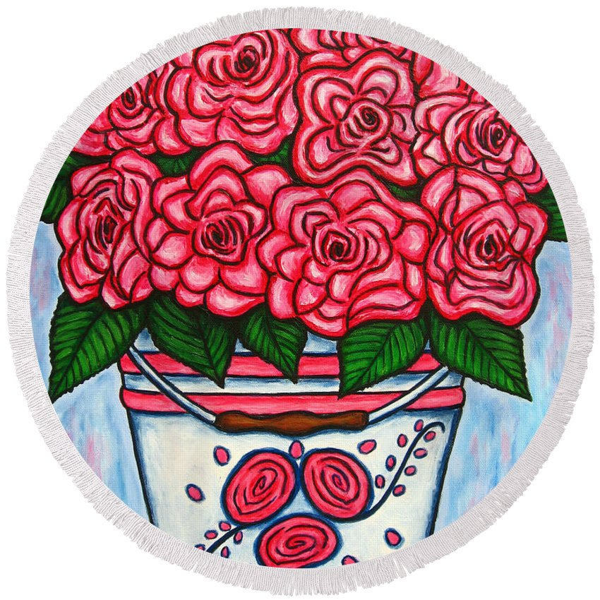 Rose Round Beach Towel featuring the painting La Vie En Rose by Lisa Lorenz